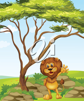 Illustration of a lion standing beside a big tree