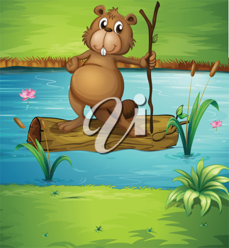Illustration of a beaver holding a wood in the river