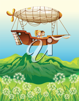 Illustration of an airship carrying two young girls