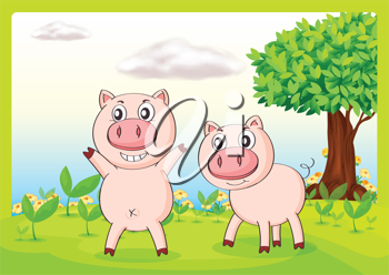 Illustration of smiling pigs in a beautiful nature
