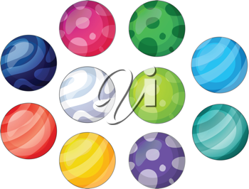 Illustration of a group of balls on a white background