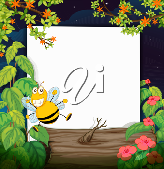 Illustration of a bee and a white board in a beautiful nature