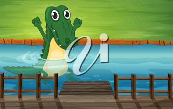 Illustration of a crocodile in the river