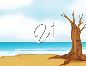 Illustration of a tree without leaves near the beach