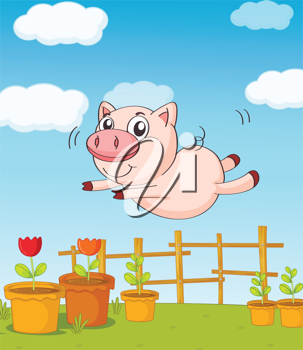 Illustration of a pig jumping in a beautiful nature