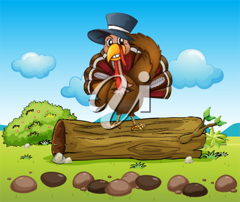 Illustration of a bird standing on a dry wood