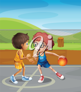 Illustration of two boys playing basketball at the court