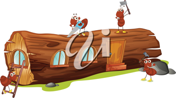Illustration of ants and a wood house on a white background