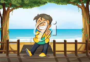 Illustration of a smiling boy standing on a wooden platform on a beach