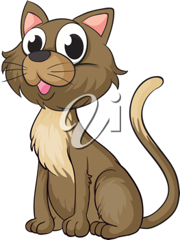 Illustration of a smiling cat on a white background