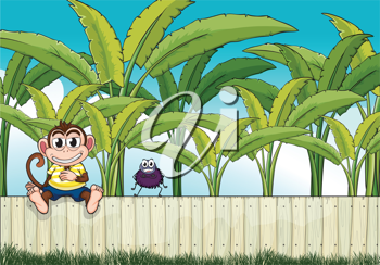 Illustration of a monkey and a spider on the fence