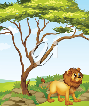 Illustration of a lion at the right side of a big tree