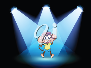 Illustration of a happy monkey at the center of the stage
