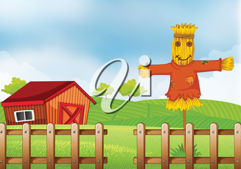 Illustration of a scarecrow inside the wooden fence