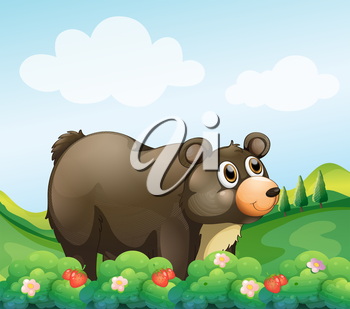 Illustration of a big brown bear in the garden