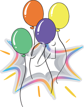 Illustration of the four colorful flying balloons on a white background