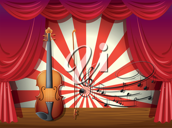 Illustration of a violin with musical notes at the stage