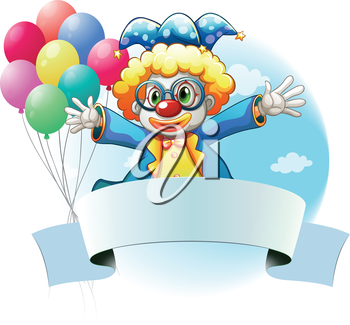 Illustration of a clown with balloons and the empty signage on a white background