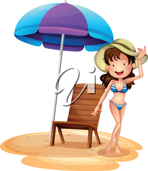 Illustration of a girl wearing a bikini beside a summer chair and umbrella on a white bakcground