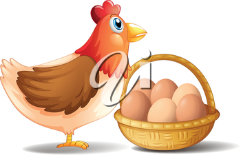 Illustration of the mother hen and a basket of eggs on a white background
