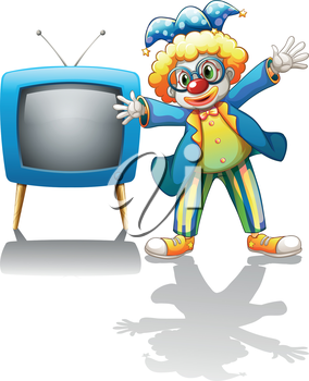 Illustration of a clown beside a blue television on a white background