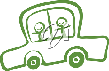 Illustration of a green car with two kids riding on a white background