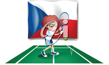 Illustration of a boy playing tennis in front of the Czech Republic flag on a white background