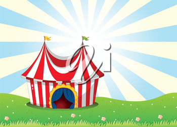 Illustration of a circus tent at the top of the hill