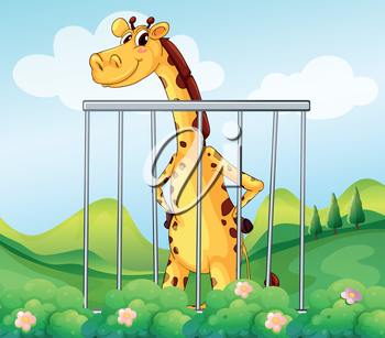 Illustration of a giraffe inside the cage