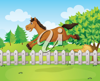 Illustration of a horse jumping over the fence