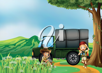 Illustration of a girl and aboy beside the green truck
