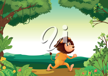 Illustration of a lion running in the forest