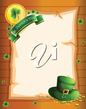 Illustration of a blank sheet for St. Patrick's Day