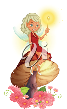 Illustration of a fairy holding a wand sitting above a giant mushroom on a white background