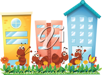 Illustration of the ants at the garden in front of the high buildings on a white background