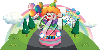Illustration of a happy clown riding in a pink car on a white background