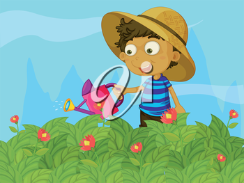 Illustration of a boy watering the plants in a garden