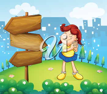 Illustration of a little girl standing beside the wooden arrow boards