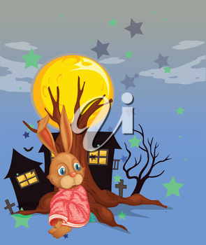 Illustration of a rabbit beside an old tree