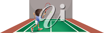 Illustration of a boy playing tennis at the court on a white background
