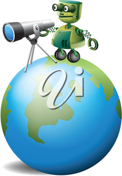 Illustration of a robot with a telescope above the globe on a white background