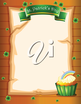 Illustration of a paper with a St. Patrick's Day greeting and a cupcake