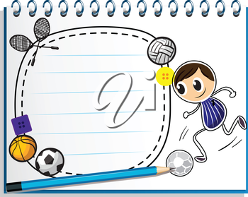 Illustration of a notebook with a sketch of the different sports game on a white background