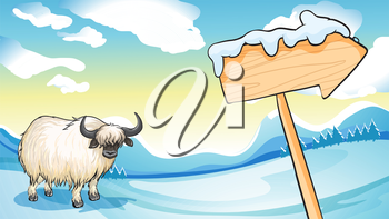 Illustration of a bison near the wooden arrowboard