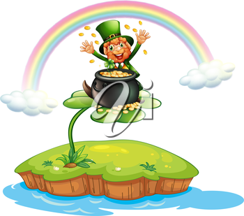 Illustration of a man above a clover plant with a pot of coins