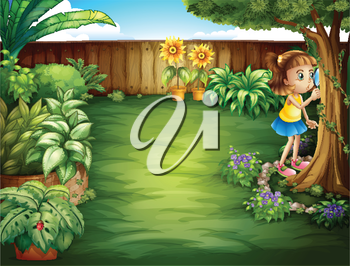Illustration of a little girl studying the plants in the garden