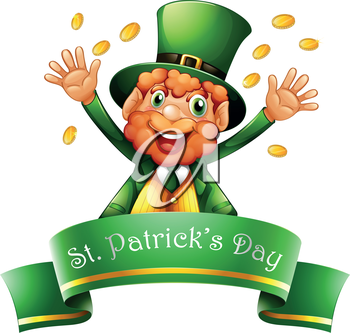 Illustration of a man celebrating St. Patrick's Day with coins on a white background