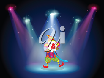 Illustration of a clown at the stage with spotlights