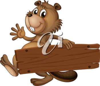 Illustration of a beaver holding a wooden signboard on a white background