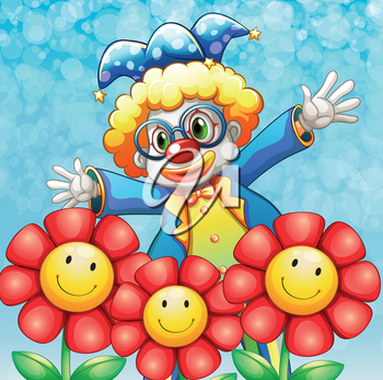 Illustration of a clown at the back of the three lovely flowers